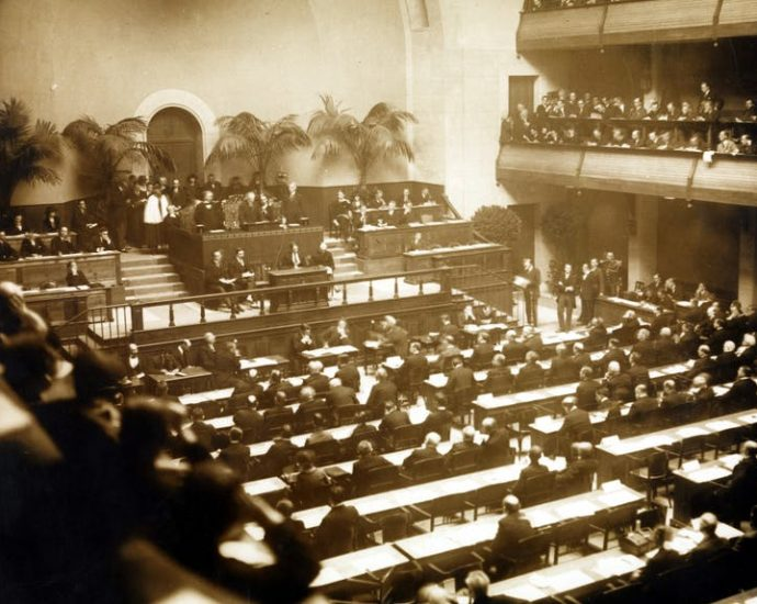 First meeting of Assembly of the League of Nations in November 1920.